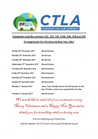 CTLA Christmas and New Year Arrangements Windowbill
